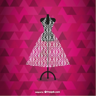 Fashion dress in its mannequin and polygonal background