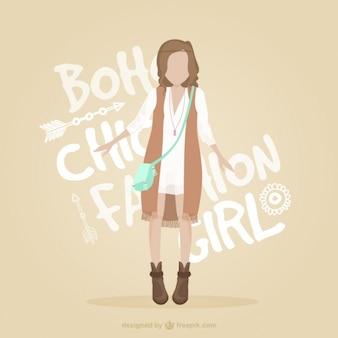 Fashion girl with stylish boho clothes