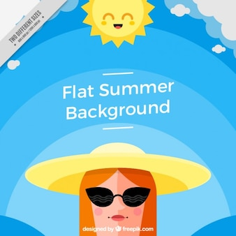 Fashion girl with sunglasses and hat summer background