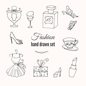 Fashion hand drawn set