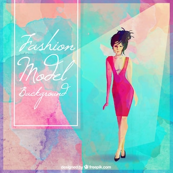 Fashion model hand painted watercolor background