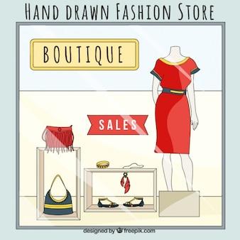 Fashion store, hand drawn