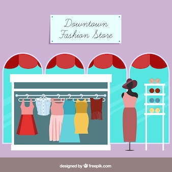 Fashion store with elegant clothes