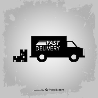 Fast delivery truck silhouette