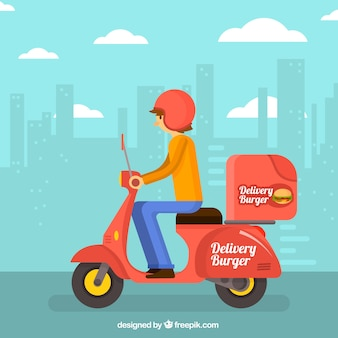Fast food delivery on scooter