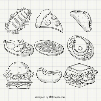 Fast food in hand drawn style