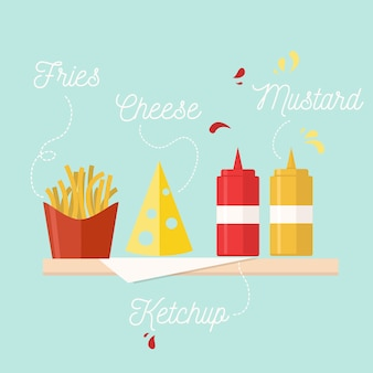Fast food on party illustration