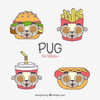 Fast food with pug's faces