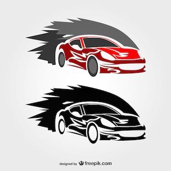 速いレースカーのベクトルのロゴ