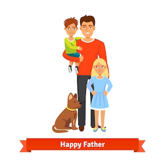 Father holding son, daughter standing, dog siting