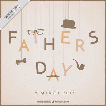 Father's day background with elements hanging in retro style