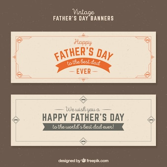 Father's day banners in vintage style