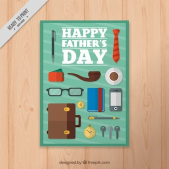Father's day card with flat elements