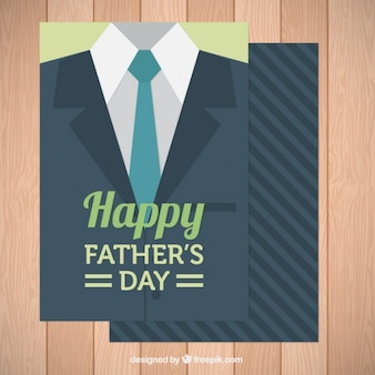 Father's day card with jacket and tie in flat design