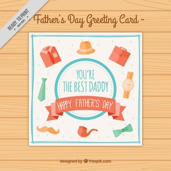 Father's day card with man accessories