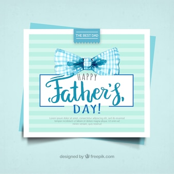 Father's day card with watercolor bow