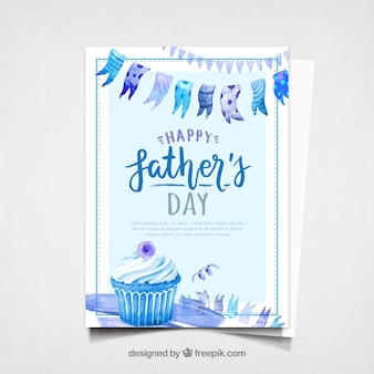 Father's day card with watercolor cupcake