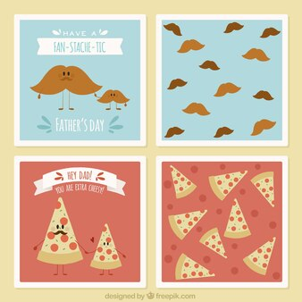 Father's day cards with mustaches and pizza