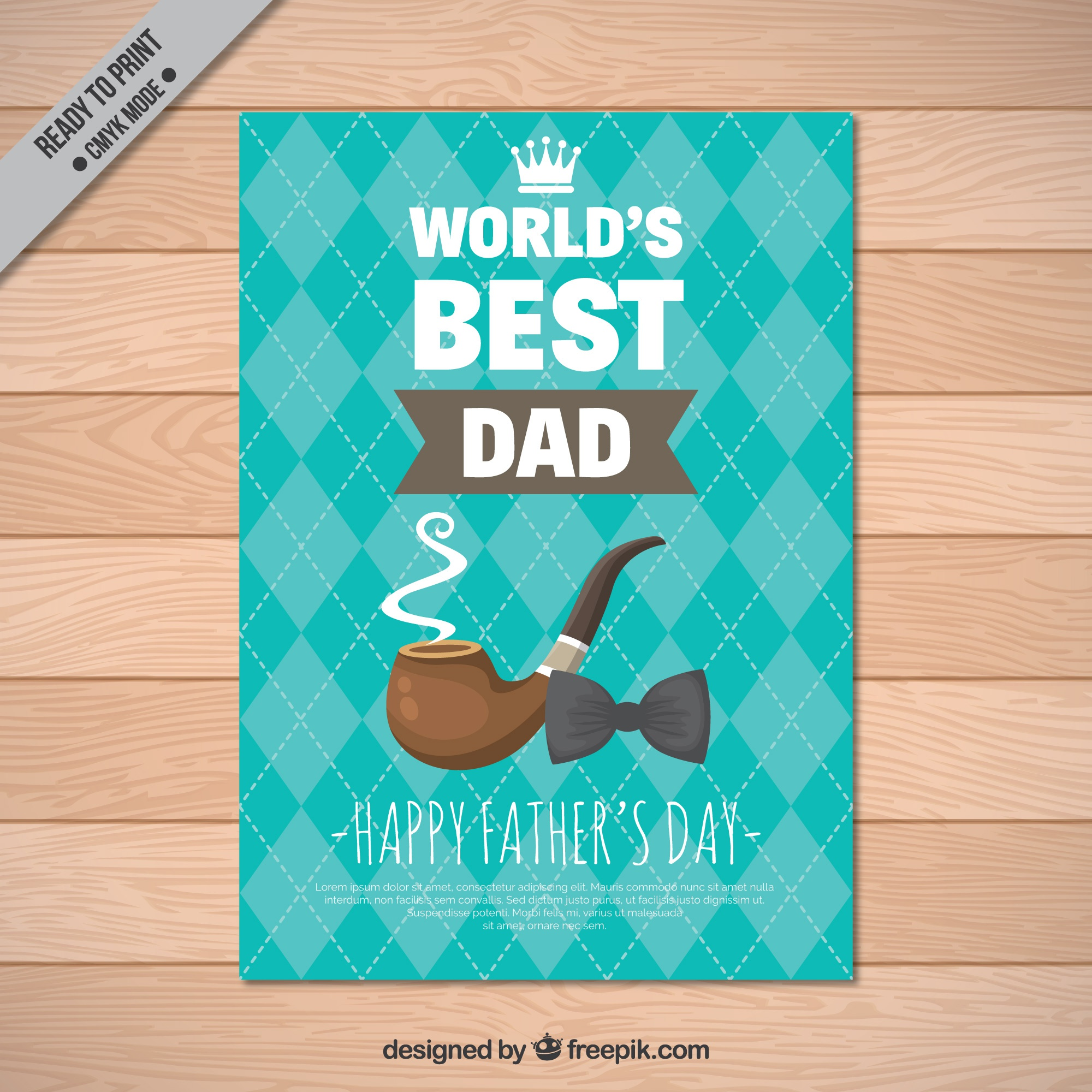 Father's day greeting card with bow tie and pipe