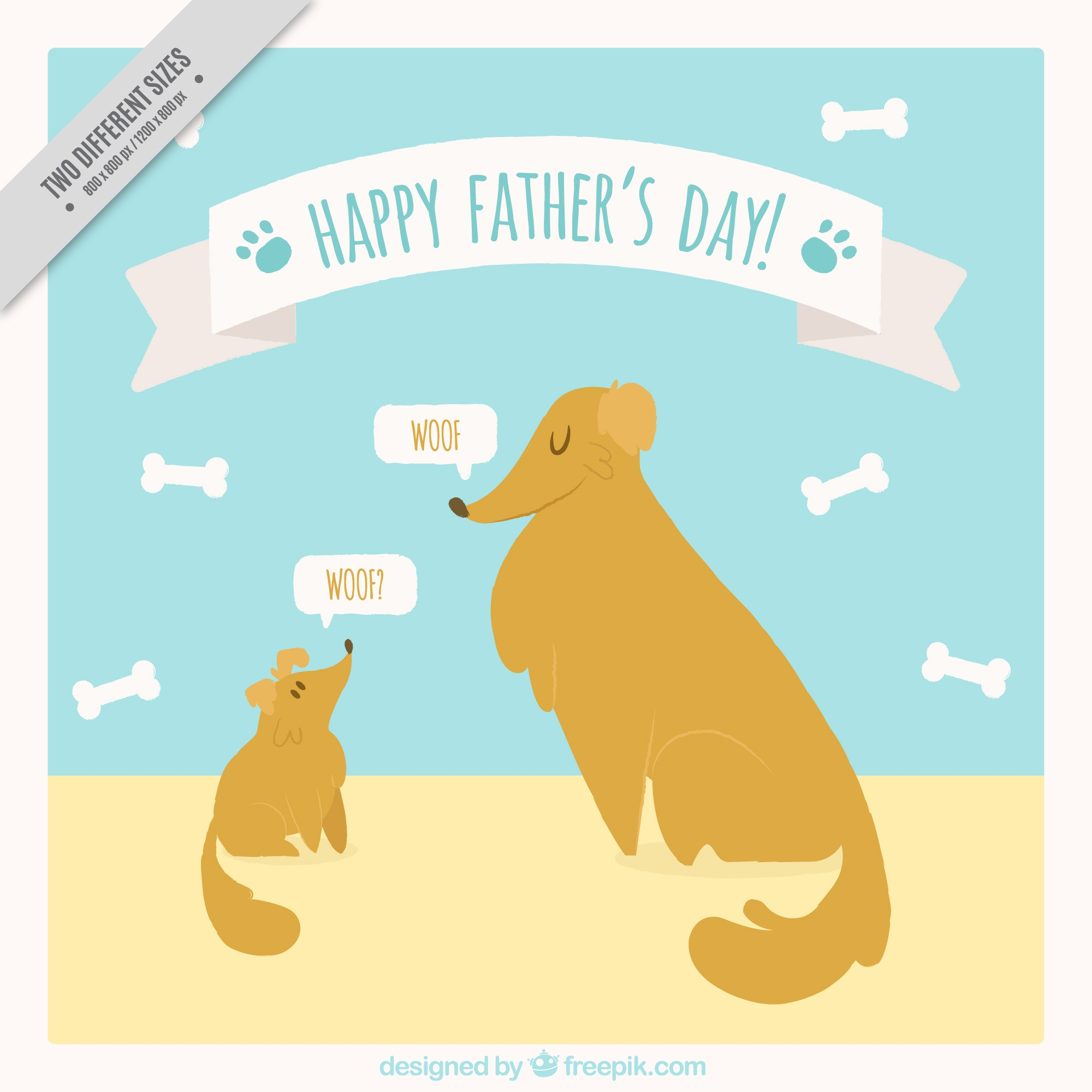 Father's day greeting card with two dogs