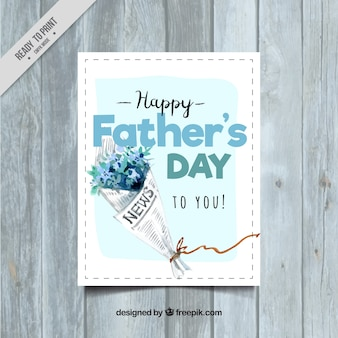Father's day greeting card with watercolor bouquet