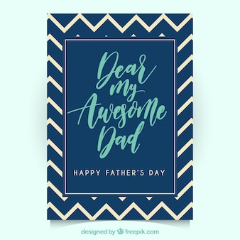 Father's day greeting card with zigzag lines