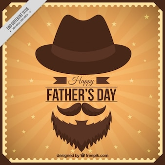 Father's day card in vintage design with elements
