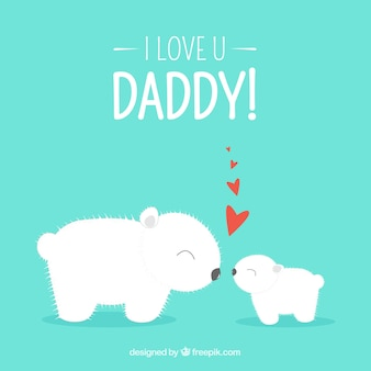 Fathers day card with polar bears