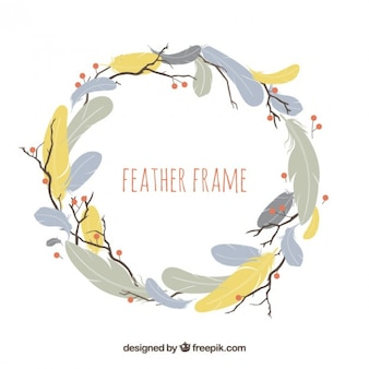 Feathers frame in pastel colors