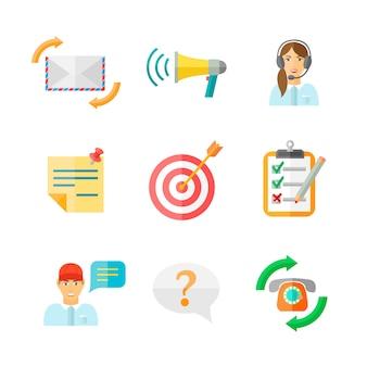 Feedback computer web tablet social media symbols pictograms on white set flat vector illustration
