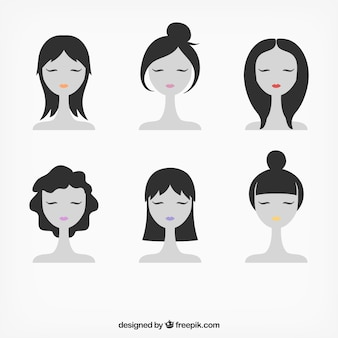 Female faces illustration