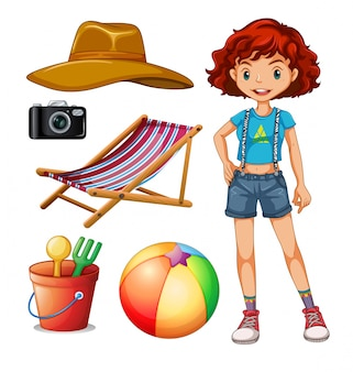 Female hipster and beach set illustration