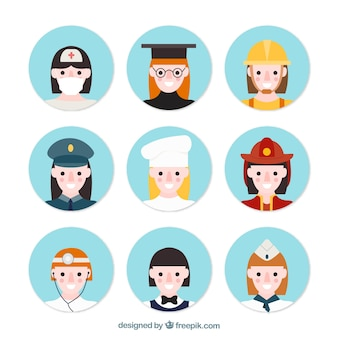 Female professional avatars with flat design