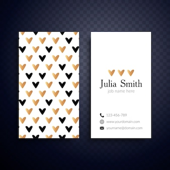 Feminine business card with hearts