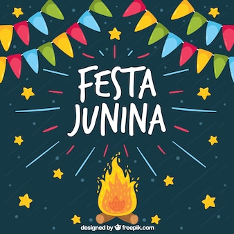 Festa junina background with bonfire and stars