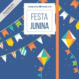 Festa junina background with cute garlands