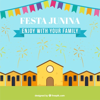 Festa junina background with fireworks