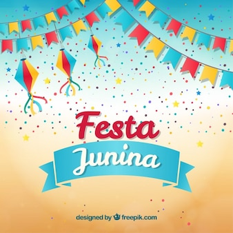 Festa junina background with garlands and confetti