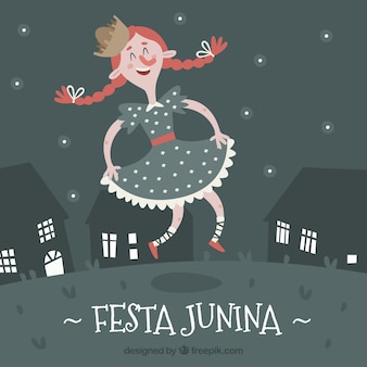 Festa junina background with girl dancing