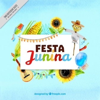 Festa junina background with watercolor harvest elements