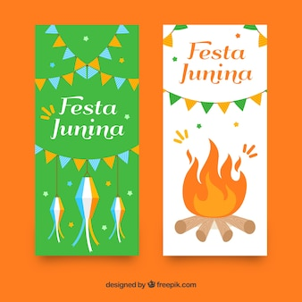 Festa junina banners with fire