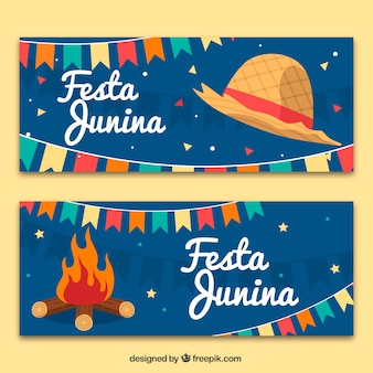 Festa junina banners with hat and bonfire