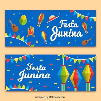Festa junina banners with ornaments