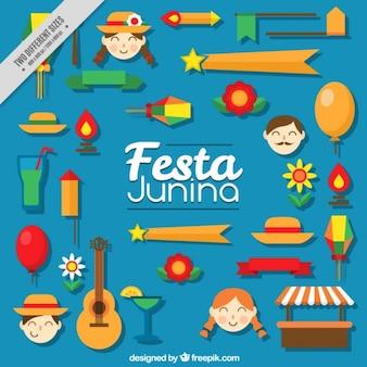 Festa junina decorative elements in flat design