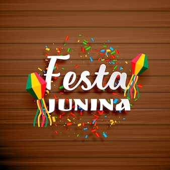 Festa junina design on wooden background