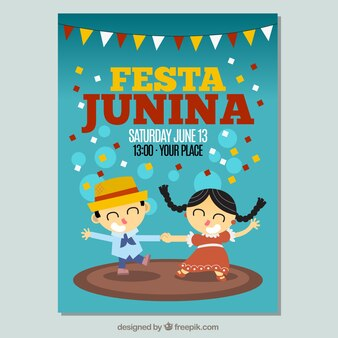 Festa junina invitation with couple dancing