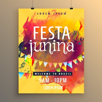 Festa junina poster with colorful paint stains