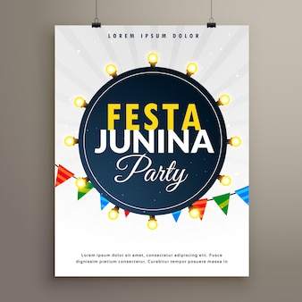 Festa junina poster with light bulbs