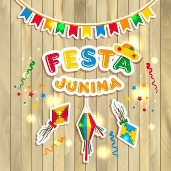 Festa junina vector illustration on wooden