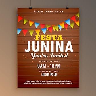 Festa junina wooden background poster